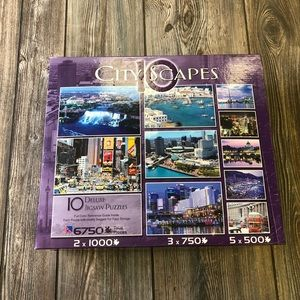 City Scapes 10 Deluxe Jigsaw Puzzles W/ Reference